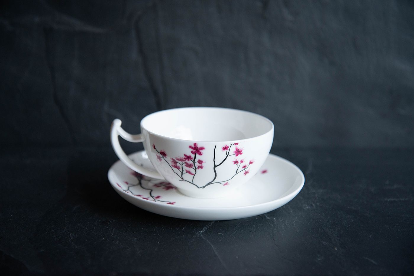 Cherry Blossom Tea Cup and Saucer