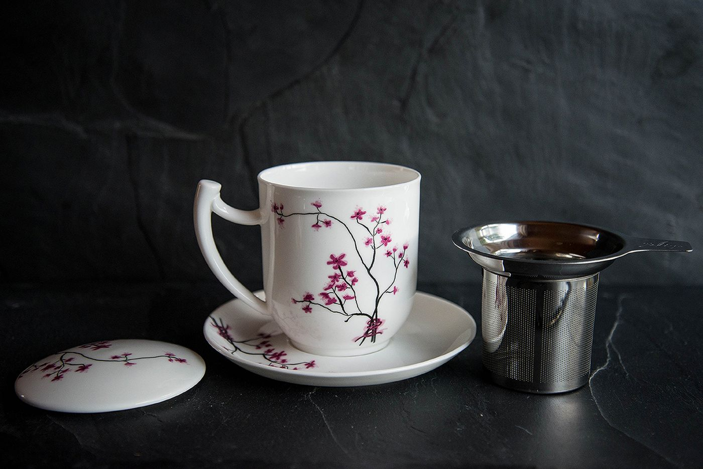 Cherry Blossom Infuser Cup and Saucer