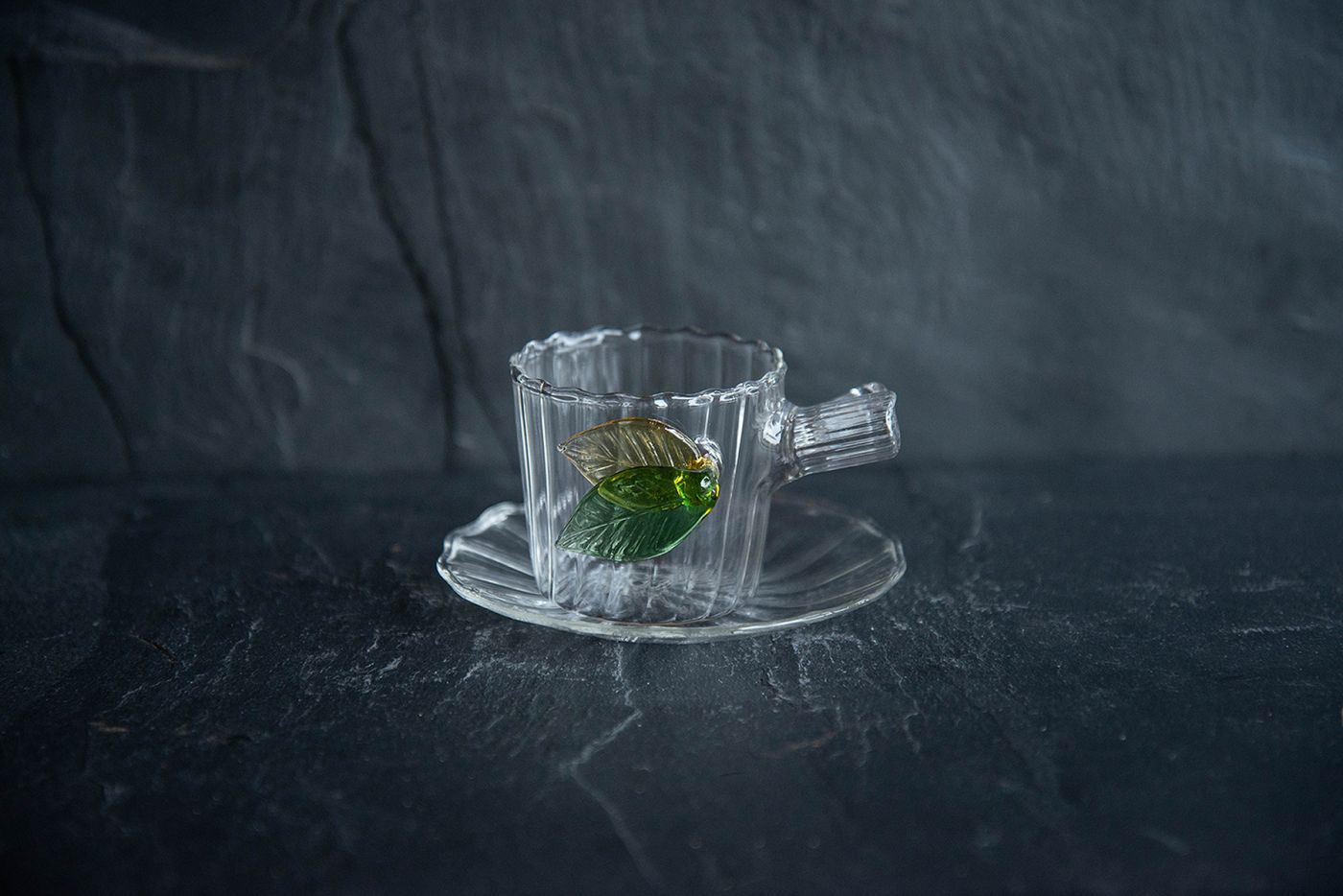 Espresso Cup and Saucer Leaves