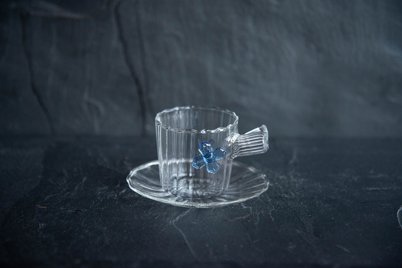 Espresso Cup and Saucer Blue Flower