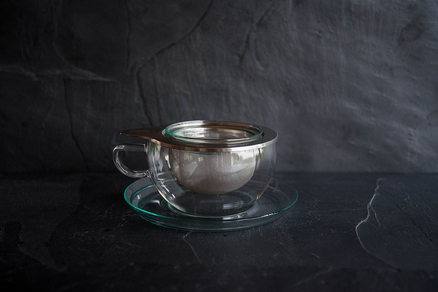 Swan Glass Infuser Cup and Saucer
