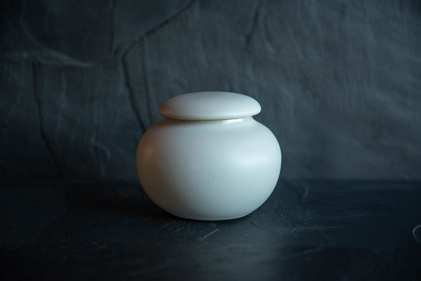 Ivory White Traditional Japanese Tea Caddy