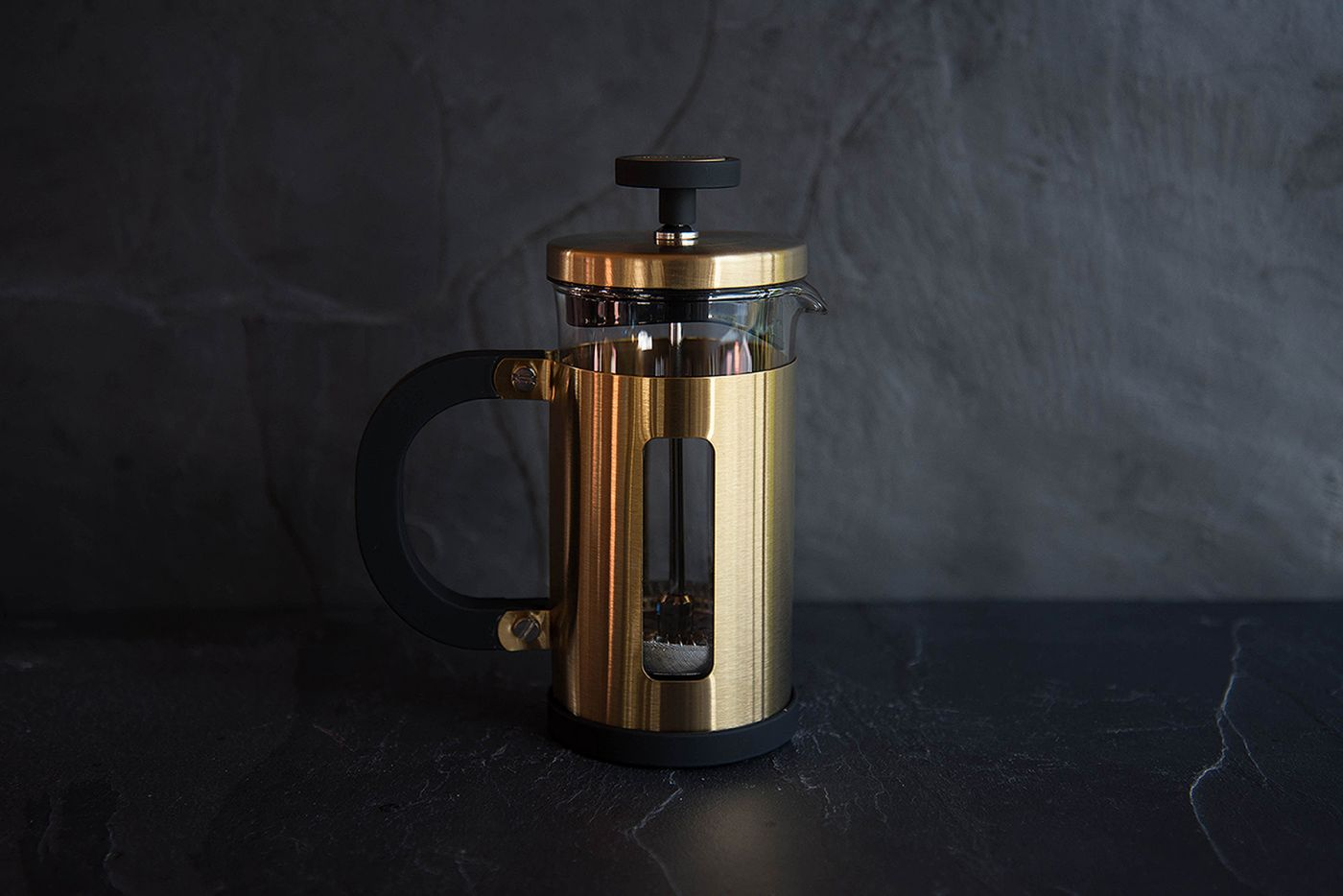 Pisa 3 Cup Brushed Gold Cafetiere