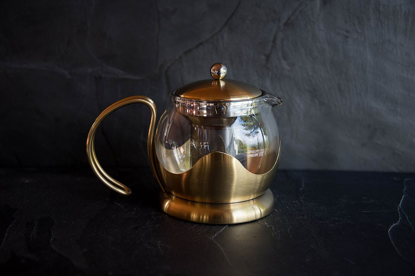 Le Teapot 2 Cup Brushed Gold Infuser Teapot