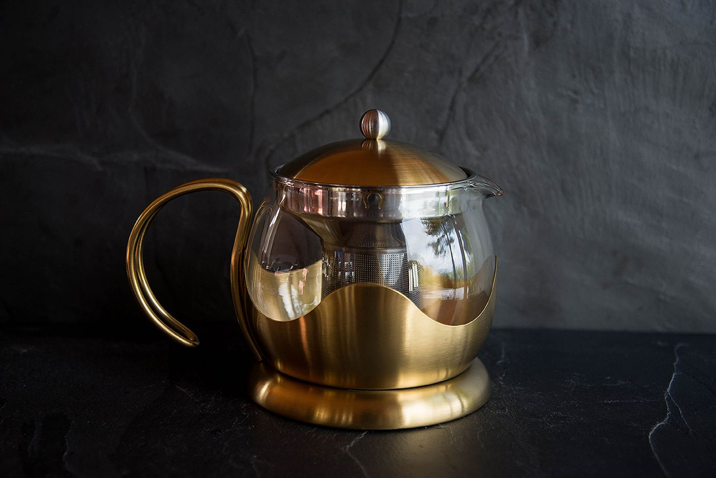 Le Teapot 4 Cup Brushed Gold Infuser Teapot
