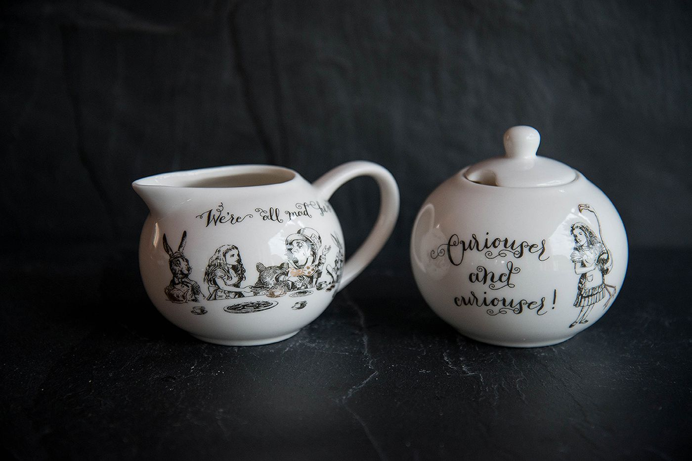 Alice In Wonderland Sugar Bowl And Creamer