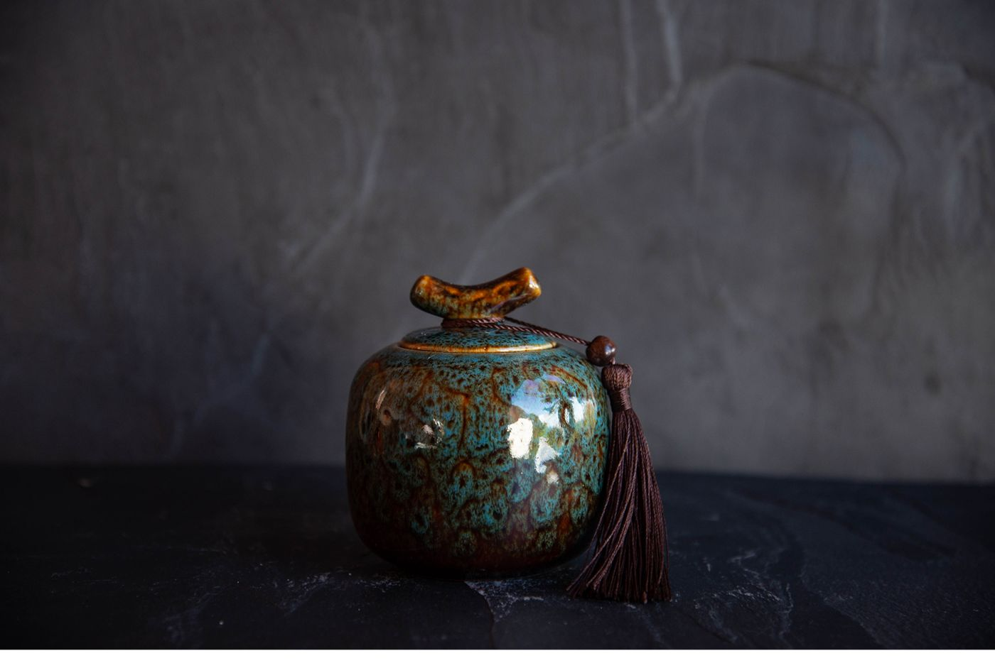 Turquoise Traditional Japanese Tea Caddy