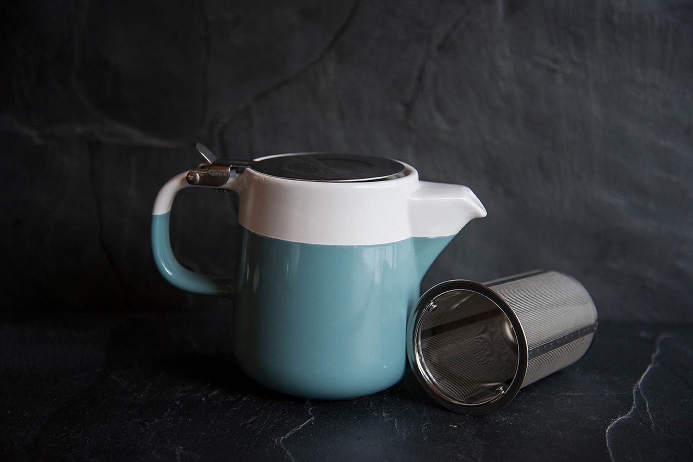 2-Tone Barcelona 2 Cup Retro Blue Infuser Teapot