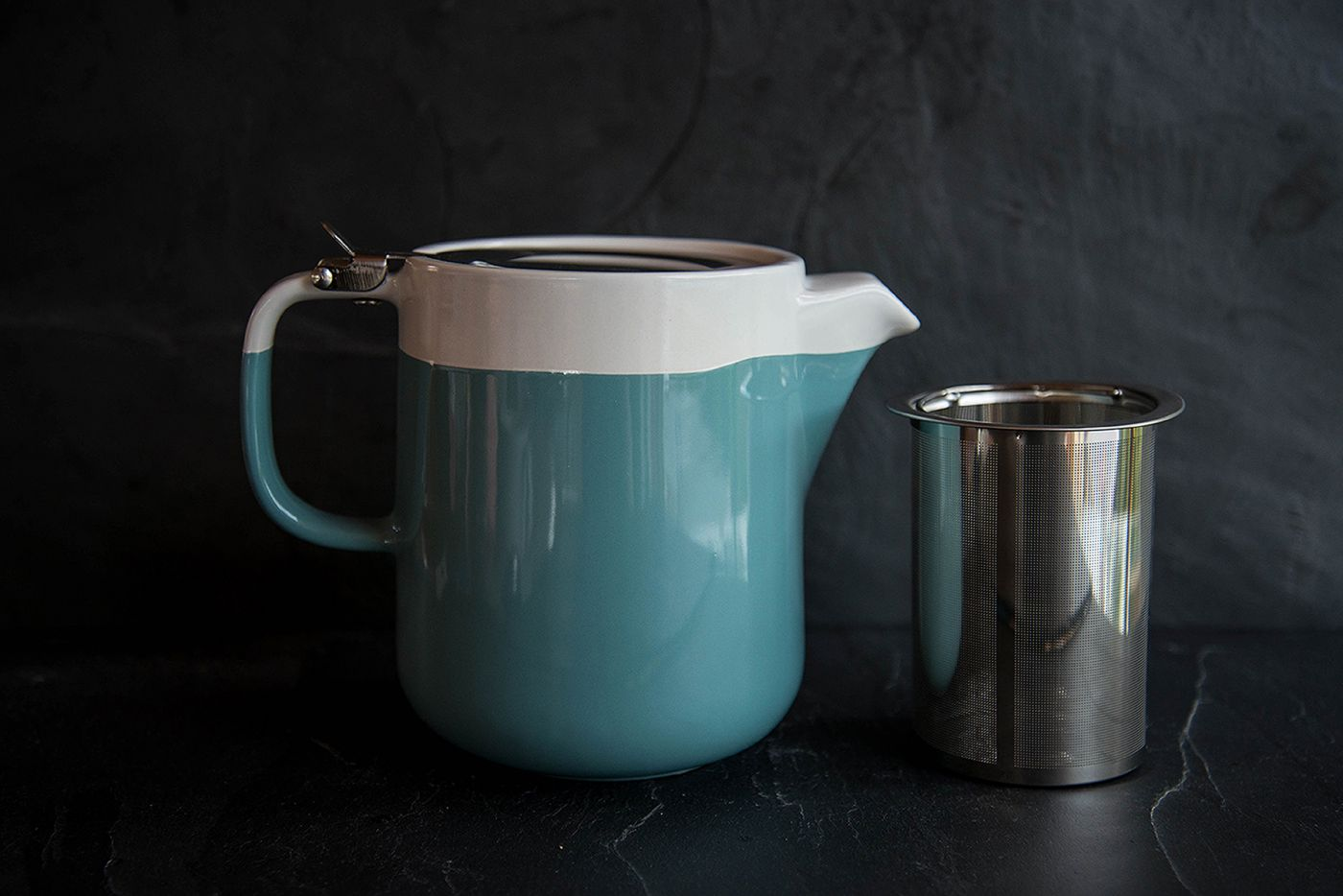 2-Tone Barcelona 4 Cup Retro Blue Infuser Teapot