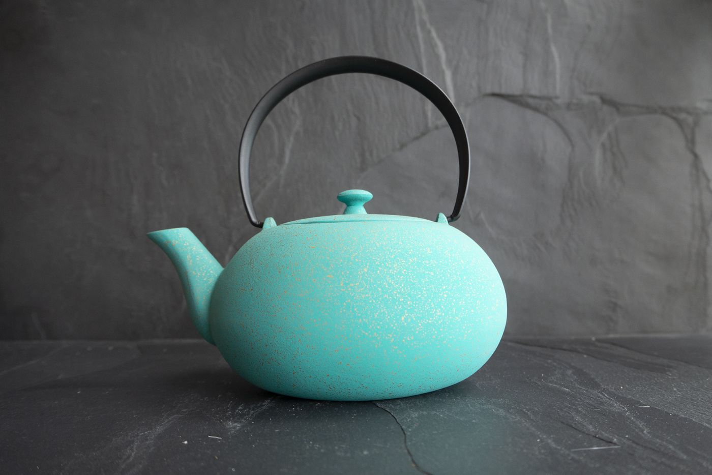 Wazuqu Turkish Blue/Gold Japanese Cast Iron Teapot 0.55L